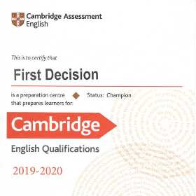 Сертификат Cambridge English Qualifications Preparation Centre 2019-2020 - статус подтверждён!